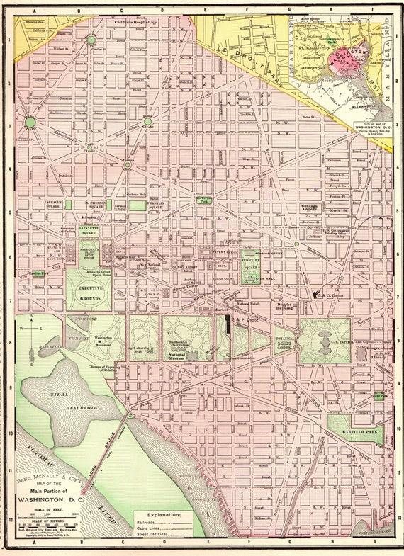 1899 Antique Washington Dc Map Vintage Map Of Washington Dc Etsy