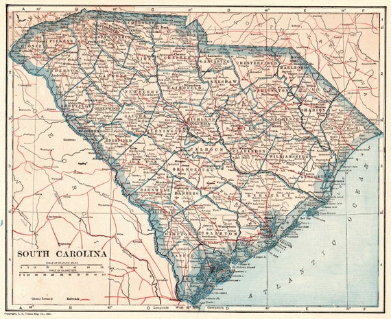 1921 Antique South Carolina Map Vintage State Map Of South Etsy