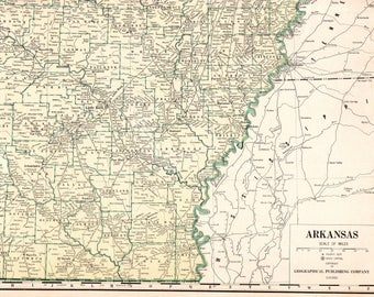 1947 Antique Rare Size ARKANSAS Map of Arkansas State Map Poster Size Map Collector Gift For Traveler Wedding Birthday Anniversary 7359