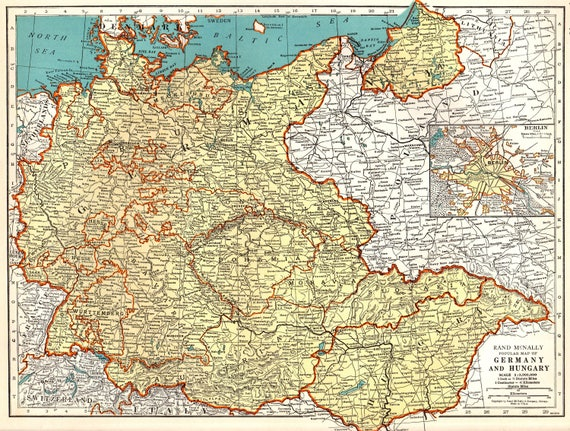 1940 Vintage Map of GERMANY and Hungary Map Gallery Wall Travel Decor Gift  For Birthday Wedding Graduation Travel 8194