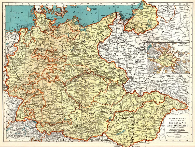 Map Of Germany In 1940.1940 Vintage Map Of Germany And Hungary Map Gallery Wall Etsy