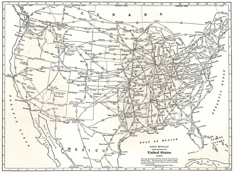 1942 Antique UNITED STATES Map RAILROAD Map Usa Map Black and White Gallery  Wall Art Anniversary Gift For Birthday Graduation 6471