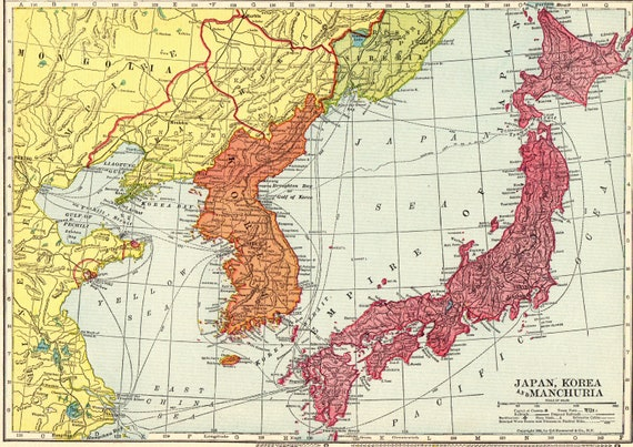 1909 Antique Japan Map Of Japan Korea And Manchuria Gift For Etsy