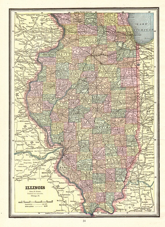 1889 Antique ILLINOIS State Map Vintage Map of Illinois | Etsy