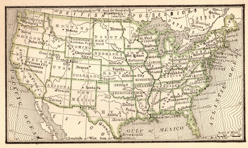 1888 Antique UNITED STATES Map Miniature Vintage Usa Map of | Etsy