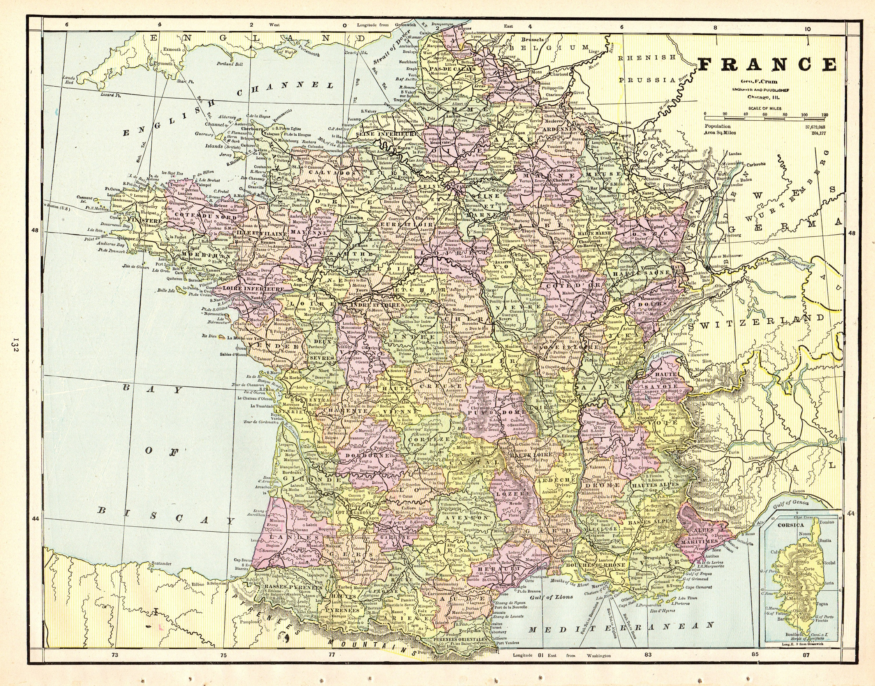 1892 Antique FRANCE Map of France Print Vintage Gallery Wall