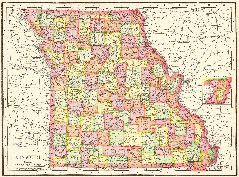 1898 Antique MISSOURI State Map Vintage Map of Missouri Gallery Wall Art  Anniversary Gift For Graduation Birthday Wedding 9710