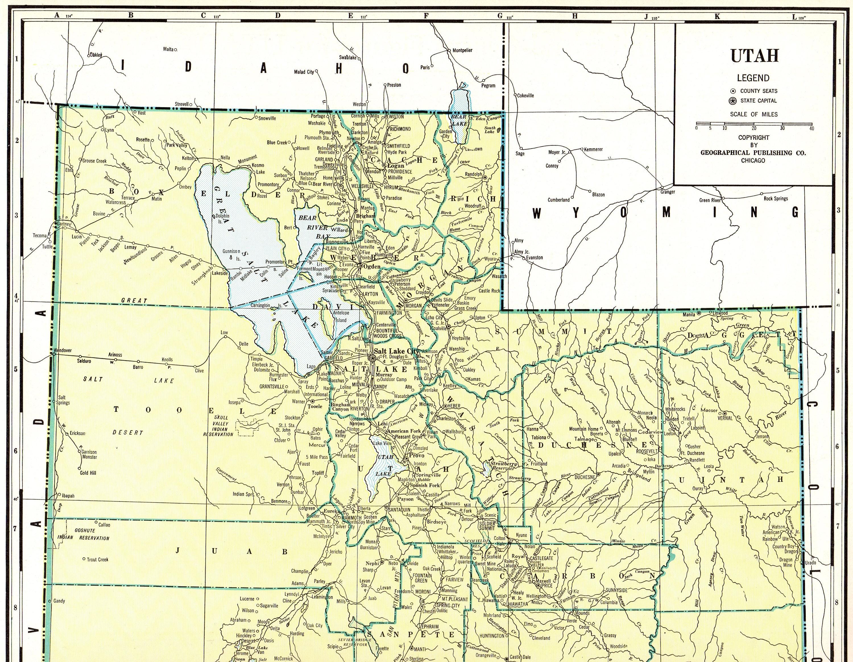 Grouse Creek Utah Map.Rare Size 1931 Antique Utah State Map Vintage Map Of Utah Etsy