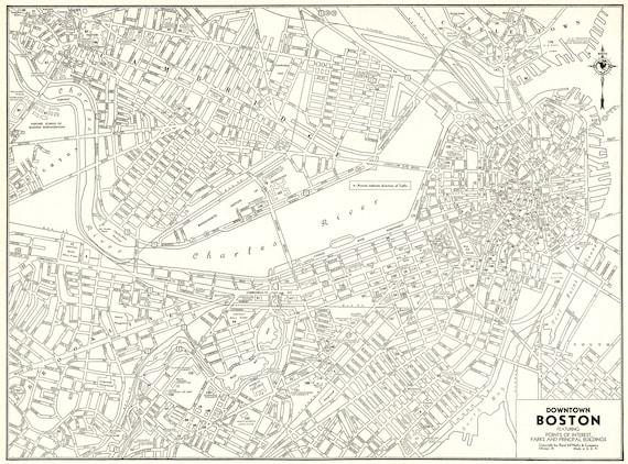 Antique Boston Map.1939 Antique Boston Map Of Boston Massachusetts Black And Etsy