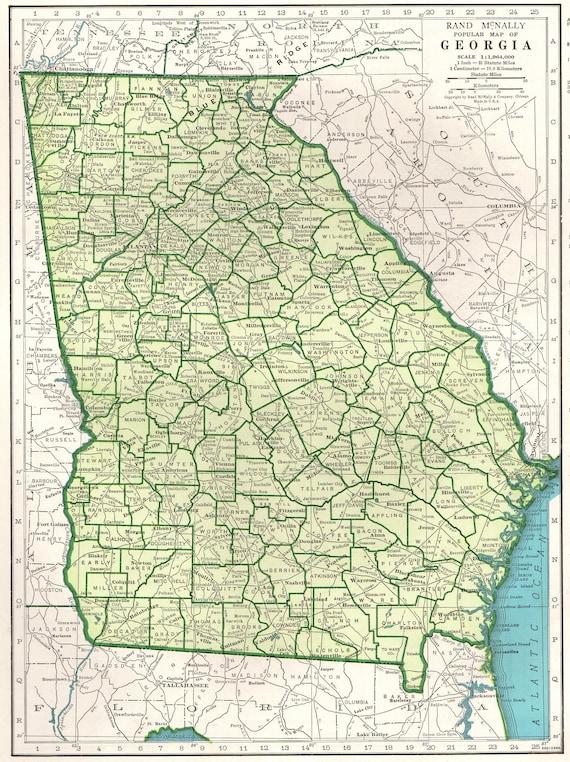 1947 Vintage GEORGIA Map of Georgia State Map 1940s Georgia | Etsy