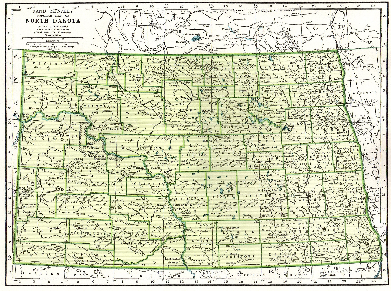 1942 Vintage NORTH DAKOTA Map Antique Map of North Dakota | Etsy