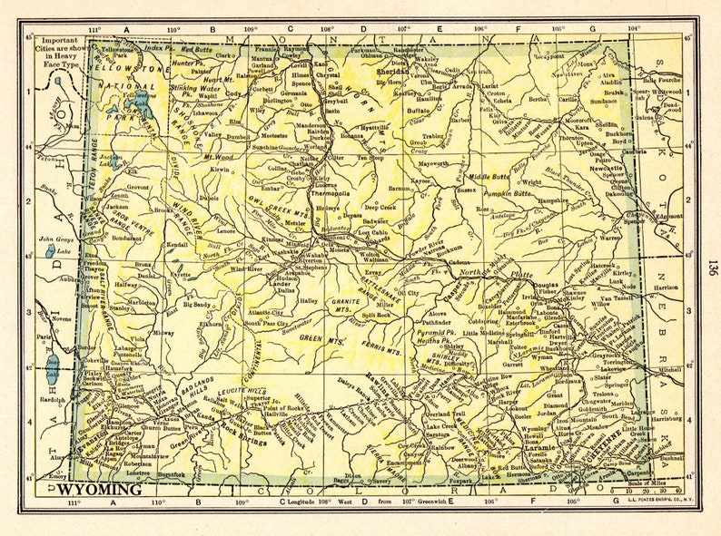 1915 Antique WYOMING State Map Vintage Map of Wyoming Gallery | Etsy