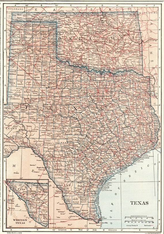 1914 Antique TEXAS Map OKLAHOMA Map State Map of Oklahoma Print Gallery  Wall Art Gift for Anniversary Wedding Birthday 9451