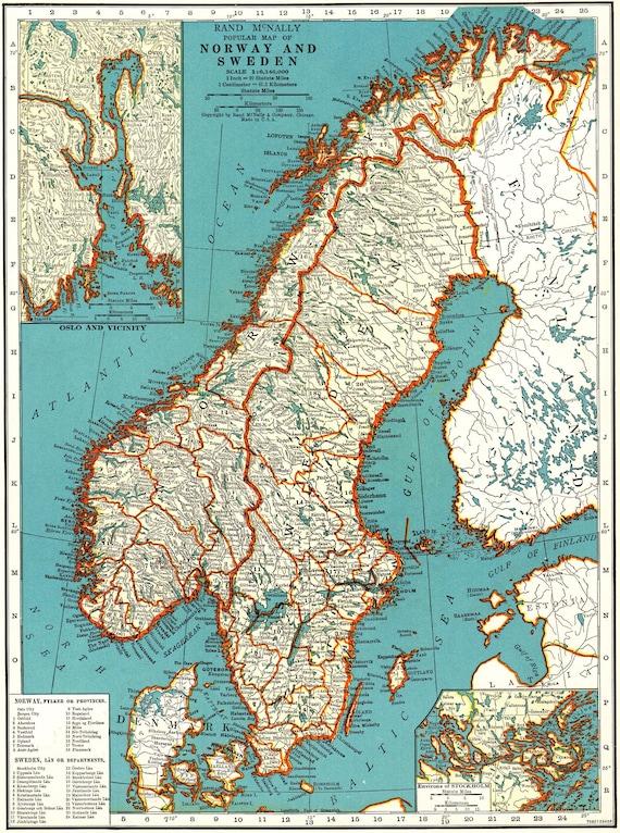 Karte Norwegen Schweden.1939vintage Norwegen Karte Und Schweden Karten Galerie Wand Kunstbibliothek Decor Geschenk Fur Sammler Geburtstag Karte Hochzeit 8819