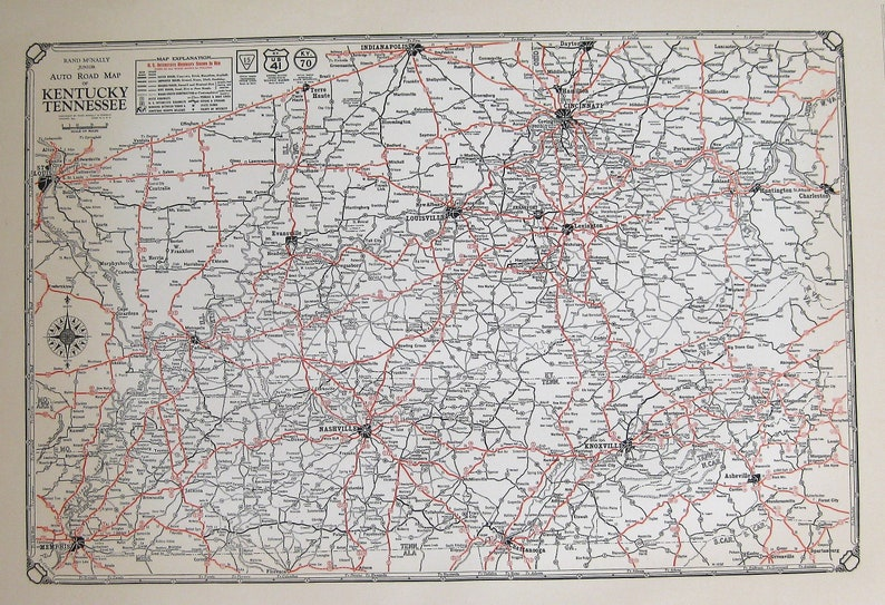 1932 RARE Antique Map of KENTUCKY Vintage TENNESSEE Road Map | Etsy
