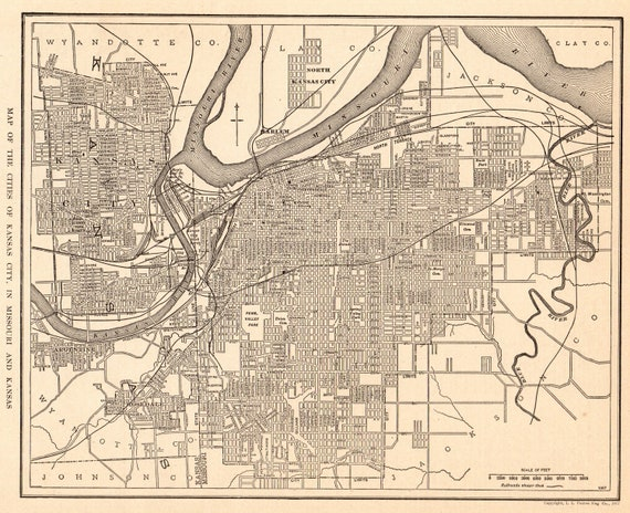 1919 Antique KANSAS CITY Street Map of Kansas City Missouri and Kansas  Black and White Map Wall Decor Wedding Gift For Anniversary 10435