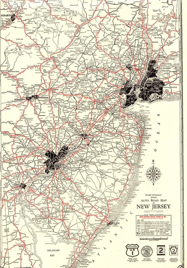 1930 Rare Size Antique New Jersey State Road Map Poster Print Etsy - Us-map-1930