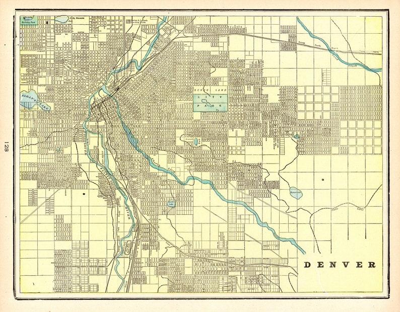 1900 Antique DENVER City Map Vintage Map of Denver Colorado | Etsy on