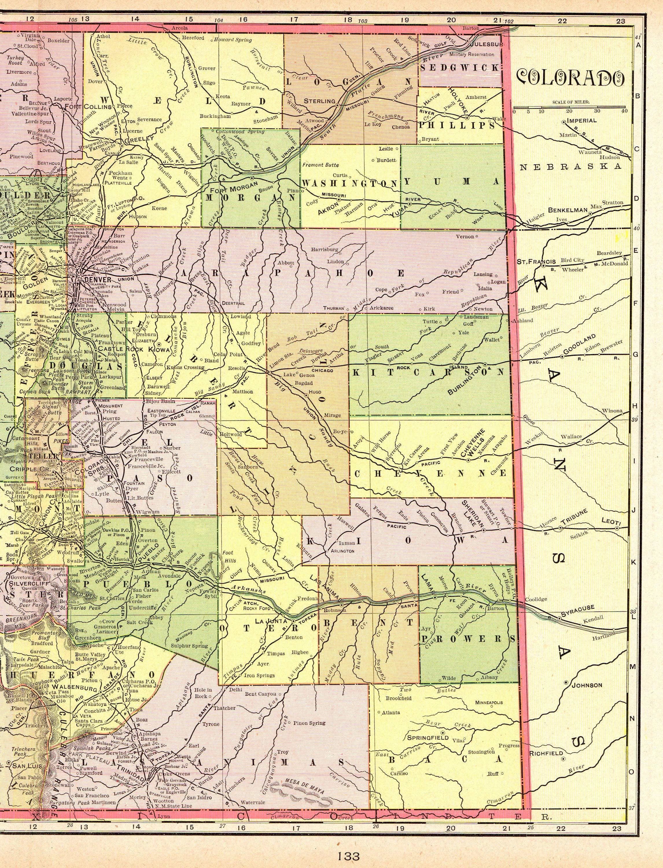 1905 Antique Colorado Map Of Colorado Print State Map Gallery Etsy