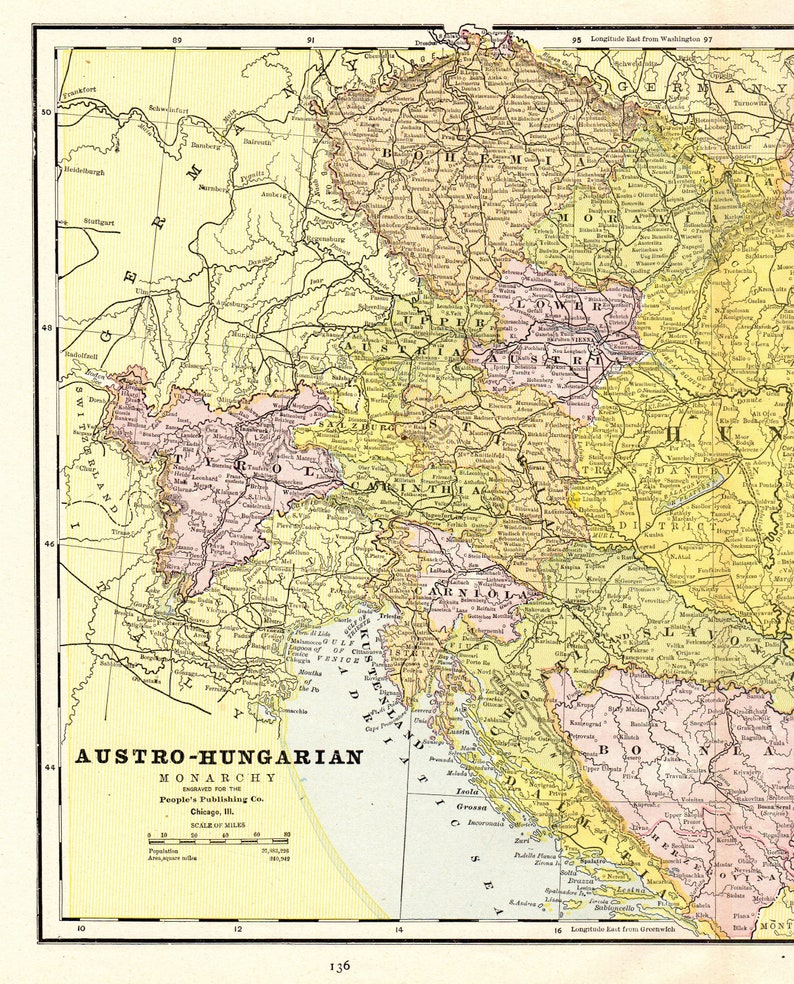 Antique AUSTRIA and HUNGARY Map 1888 Vintage Austro-Hungarian Monarchy on