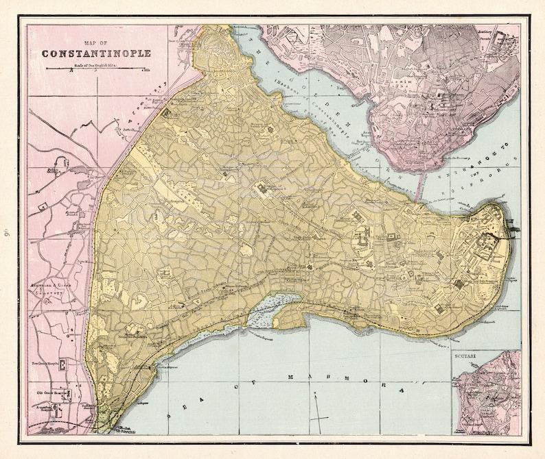 1890 Antique CONSTANTINOPLE Map Vintage Map of Constantinople | Etsy