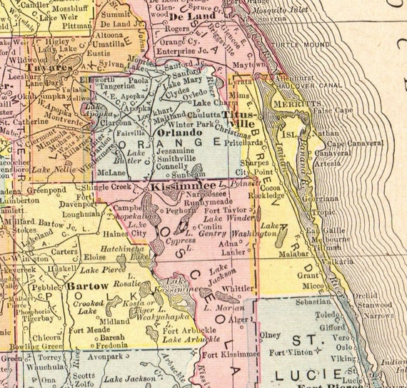 1911 Antique FLORIDA Map Vintage Map of Florida State Map