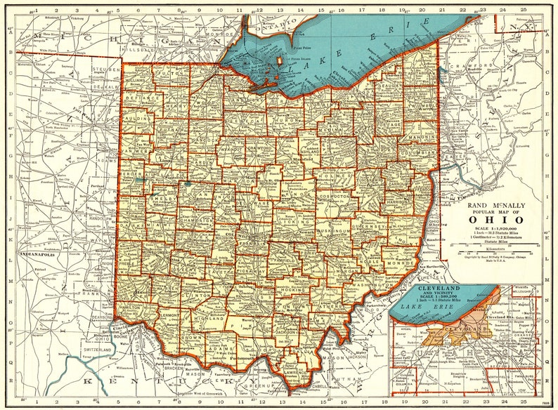 1940 Vintage OHIO State MAP Antique Map of Ohio Gallery Wall ... on ohio tennessee map, ohio south map, pennsylvania bordering canada map, ohio union map, ohio civil war map, ohio underground railroad map, ohio ohio map, ohio bordering states,