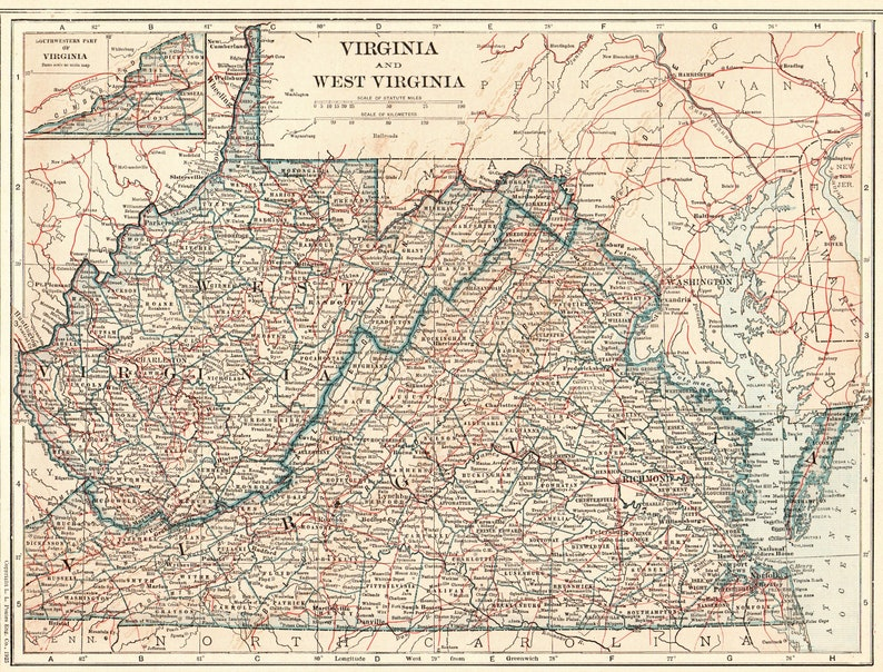 1925 Antique WEST VIRGINIA State Map Vintage Map of Virginia | Etsy