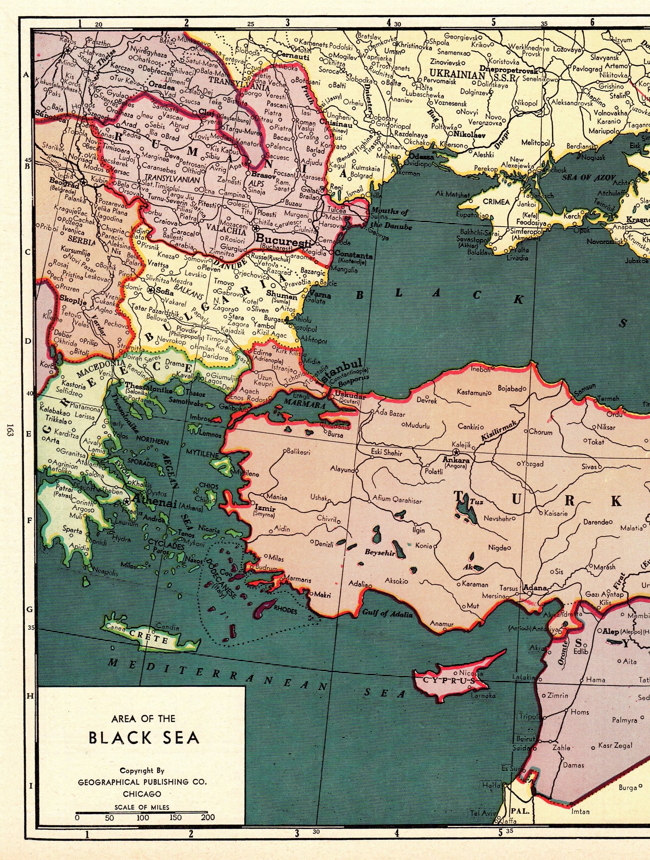 Nahost Karte.1944 Seltene Größe Antique Black Sea Karte Nahost Karte Der Türkei Iran Irak Syrien Pipe Lines Karte Geschenk Für Geburtstag Hochzeit 9618