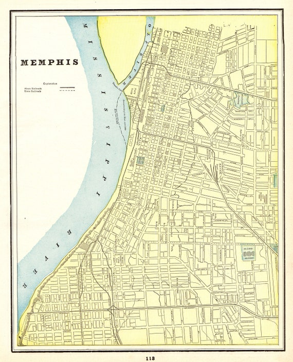 1895 Antique MEMPHIS Tennessee Map Vintage Memphis City Map Gallery Wall  Art Birthday Gift for Wedding Anniversary 8786