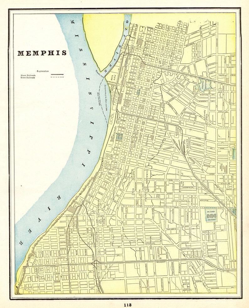 1895 Antique MEMPHIS Tennessee Map Vintage Memphis City Map | Etsy