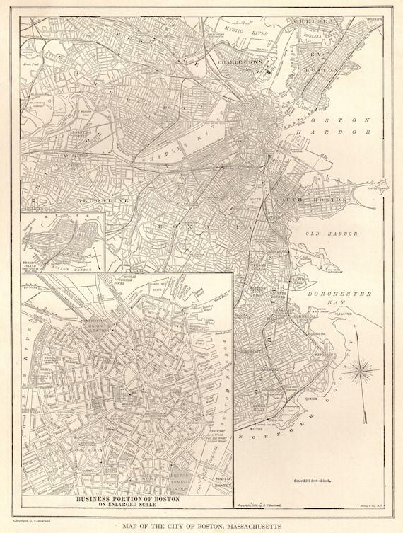 Antique BOSTON Map Black And White Map Of Boston Etsy - Antique boston map