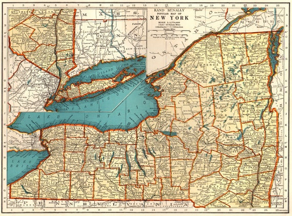 1937 Antique New York State Map Original Vintage Map Of New Etsy