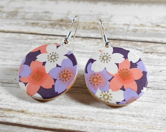 Japanese Earrings, Chiyogami Earrings, Asian Earrings, Dangle Earrings, Paper Earrings, Origami Earrings, Boho Earrings, Cherry Blossoms