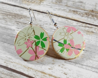 Japanese Earrings, Chiyogami Earrings, Asian Earrings, Dangle Earrings, Paper Earrings, Origami Earrings, Boho Earrings - Cherry Blossoms