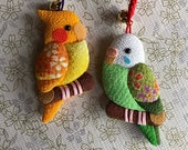 Chirimen Fabric Charm Accessories 2 BIRDS Japaese Strap Netsuke Parakeet and Parrot
