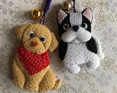 Chirimen Fabric Charm Accessories 2 DOGS Japaese Strap Netsuke Golden Retriver