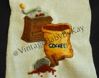 """Crewel Embroidery Coffee Theme, Embroidery Complete Ready to Frame or Upcycle, Raw Edge Sampler, Brown Gold Gray on Ivory 5.5"""" x 7.5"""""""