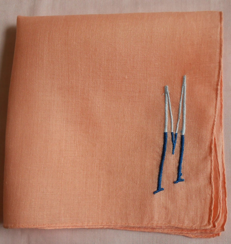 Gift Letter M Mother/'s Day M Monogram Vintage Peach Linen Hanky w 2-Tone Blue Embroidery Wedding Handkerchief Something Old Bridesmaid
