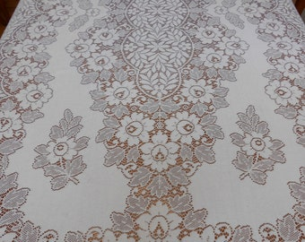 "Lace Tablecloth Vintage Light Ivory Lace Floral Sunflowers Elegant Table Decor Wedding Holiday Linens Extra Large Banquet Size 67"" x 108"""
