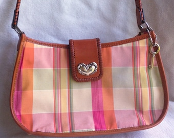 Fossil Brown Leather and Canvas Plaid Shoulder Handbag / Purse FREE SHIPPING