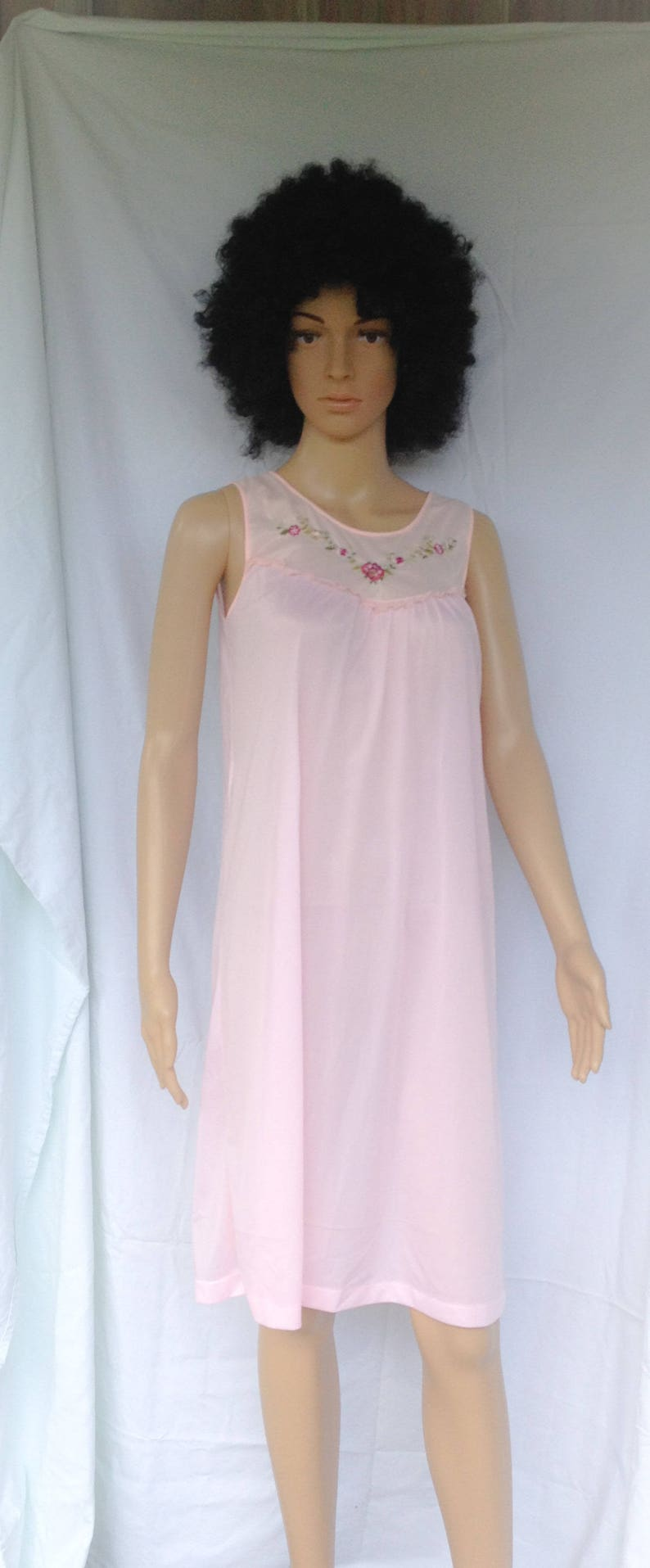 739eb7a69 Light Pink Nylon Nightgown with hot Pink Embroidered Flowers