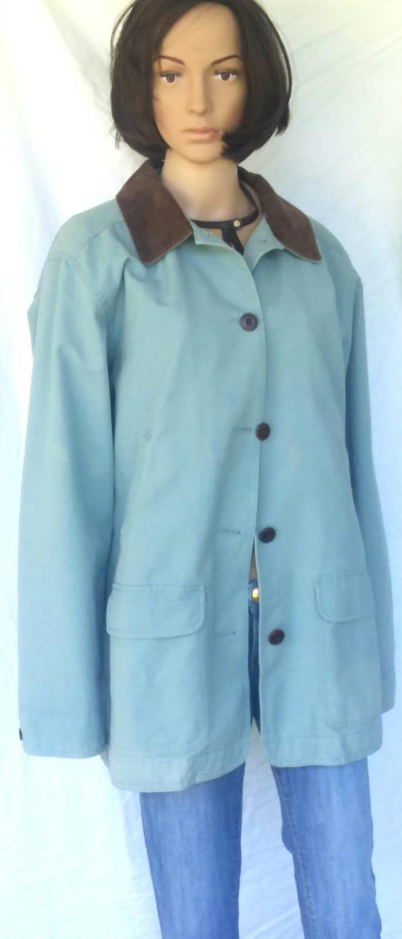 san francisco price remains stable famous brand L L Bean powder blue 100% cotton coat FREE SHIPPING