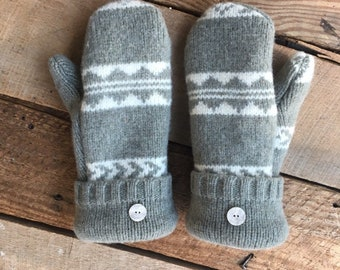 da667ecac Upcycled Winter Wool Sweater Mittens! Tan Light Olive Mittens - Fleece Lined  - Repurposed! Eco Fashion