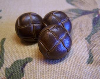 "Vintage 3/4"" Dark Golden Brown ""Leather"" Look Coat Buttons Set of 3 (1507)"