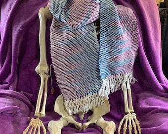 hand woven scarf, interlock design, blue, purple, and white