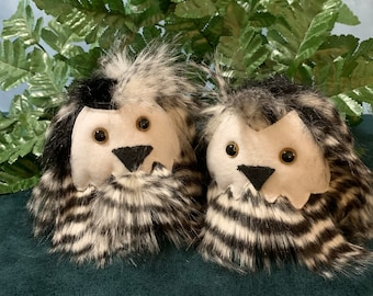 Small owl plushie, small black and white owl, sold separately