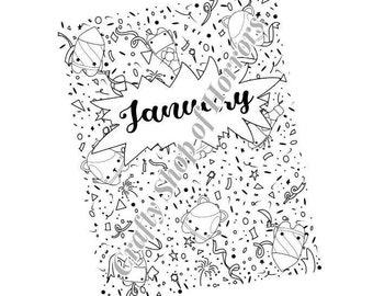 Printable planner, January 2021, fireworks design