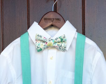 Easter Bowtie, Childs Easter Outfit, Little Boy Easter, Easter print bowtie, aqua suspender set, boys Easter outfit, Easter bow tie outfit