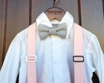Easter Bowtie, Childs Easter Outfit, Little Boy Easter, Pink suspender set, Petal grey suspenders, boys Easter outfit, grey linen bowtie